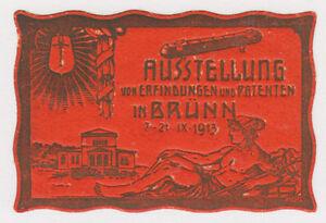 Germany, 1913 orange Label to Publicize Invention & Patent Exhibition in Brünn