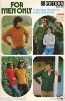 For Men Only Patons Knitting Pattern Book 475 10 Knitting Designs in 6 Fav Yarns