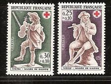 FRANCE # B409-10 MNH IVORY VIOLIN & FLUTE PLAYER MUSIC