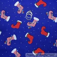BonEful Fabric FQ Cotton Quilt Blue Red White Dot Xmas Stocking Elf Candy Stripe