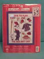 CANDAMAR DESIGNS COUNTED CROSS STITCH KIT RED HAT SOCIETY TIME TO PLAY  NEW