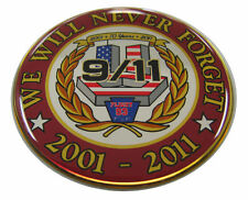 Firefighter Decal Sept 11 Emblem, We Will Never Forget Badge, Gloss, Domed #FD34