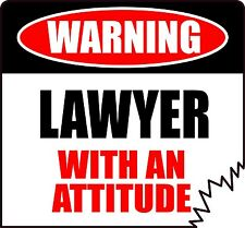 """WARNING LAWYER WITH AN ATTITUDE 5"""" DIE-CUT TATTERED EDGE STICKER"""