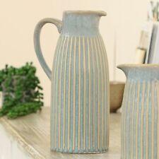 Ceramic Pitcher Vase - Tall Blue & Beige Embossed Stripe Flower Display Vase