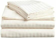 Sheet Set 4 PCs Ivory Stripe All Sizes 100 Percent  Cotton 400-Thread Count