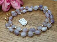 Lavendel Jade Edelstein Halskette Flieder polierte Trommelsteine  51 cm