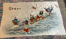 """Antique Chinese Panel Wall Hanging Hand Embroidery On Silk 28"""" X 47"""""""