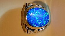 HUGE Fire Opal mens ring sz 13 Black Blue Silver 925 Thunderbird Sterling 925