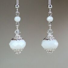 White crystal earrings vintage silver wedding bridal jewellery bridesmaid gift