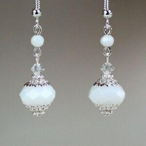 White crystal earrings vintage silver wedding bridal jewellery bridesmaid gift
