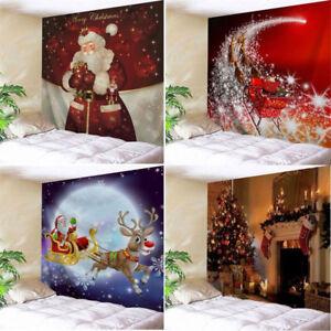 2020 Christmas Tapestry Funny Santa Reindeer Print Wall Hanging Xmas Party Decor