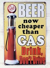 BEER cheaper than GAS Poster Vintage Metal Tin Signs beer bar Decor