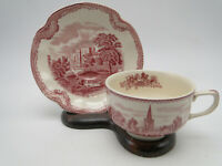 Johnson Bros Pink Old Britain Castles Cup and Saucer set(s) crown mark