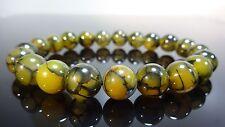 "Genuine Dragon Skin Crackled Agate bead bracelet for MEN Stretch 10mm - 8"" inch"
