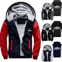 US STOCK Men's Dallas Cowboys Hoodie Zip up Fur Jacket Coat Winter Warm Outwear