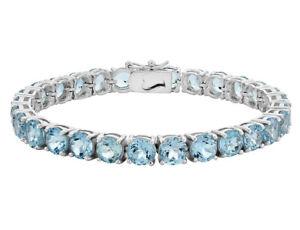 Blue Topaz Bracelet 12.50 Carat (ctw) in Sterling Silver