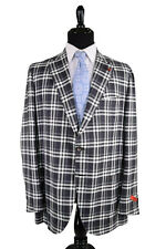 ISAIA NWT Sport Coat Size 44R In Charcoal, Gray and White Plaid