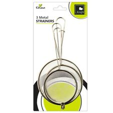 3 Pcs Stainless METAL Fine Mesh STRAINER Sieve with Handle Kitchen Ware 3 Sizes