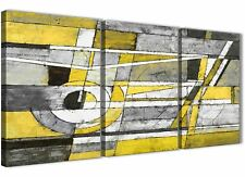 3 Piece Yellow Grey Painting Dining Room Canvas Decor - Abstract 3400 - 126cm
