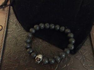 """Skull/Black Eye Volcanic Rock bracelet """" Emotional Healing and Grounding!"""""""