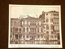 Rara veduta di Venezia di fine '800 Palazzo Cappello e Grimani, Rio San Polo