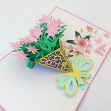 3D Pop Up Cards Valentine Lover Happy Birthday Anniversary Greeting Cards Pink