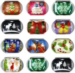 5 Large Hole Beads European Glass Big Spacers Christmas Assorted Lot Mix 14mm