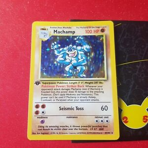 1999 1st edition Pokemon cards wotc Machamp 8/102 Base Set  Rare Holo Card