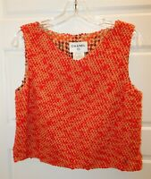 Chanel Red Yellow Gold Boucle Knit Sleeveless Sweater France 40 10