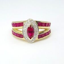 Ladies Ring 9ct (375, 9K) Yellow Gold Created Ruby & Diamond Marquise Ring