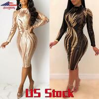Sexy Womens Sequin Bodycon Dress Ladies Evening Clubwear Party Sheer Dresses US
