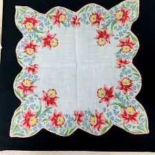 Vintage Hankie Pink & Yellow Daffodils Deep Scalloped Edge Blue Flowers 12 3/4""