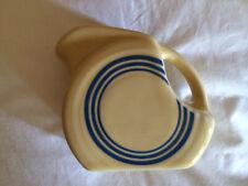 HLCCA Retro Stripe Mini Fiesta Disk Disc Pitcher Creamer Ivory with Blue Stripes