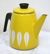 Vintage CATHRINEHOLM Coffee Tea Pot with Lid. Yellow Lotus Enamel Kettle NORWAY