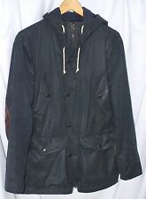 Albam XS black wool lined waxed cotton jacket hooded made in England roadmaster