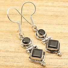 "BLACK ONYX 2 Stone Art Earrings 1.7""!  ! 925 Silver Plated Wedding Jewellery"