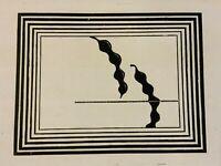Abstrakte Lithographie auf Papier mit Bleistift signiert und nummeriert