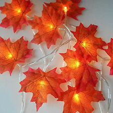 400M 40LED Lighted Fall Autumn Maple Leaves Garland Party Bedroom Decoration