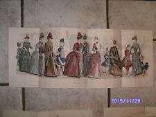 MAGNIFIQUE gravure de mode LE CONSEILLER DES FAMILLES 1888 rare colorié a main