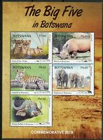 Botswana 2018 MNH Big Five Lions Rhinos Elephants 5v M/S Wild Animals Stamps