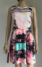M&S LIMITED COLLECTION Pink Multi Splash Print 50s Skater Dress 8 & BN Free Slip
