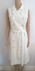 NEW IVORY BUTTON FRONT BELTED PENCIL DRESS SIZE 12