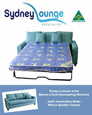 Brand New - AUS MADE Taylor 3 seater Lounge with Queen Sofa Bed (Innerspring)