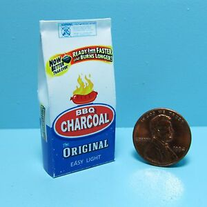 Dollhouse Miniature Replica Detailed Bag of BBQ Charcoal for the Grill G128