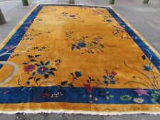 Antique Hand Made ArtDeco Chinese Oriental Gold Blue Wool Large Carpet 450x306cm
