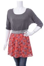 Free People Casual Tunic Dress Embelished Floral Orange Grey Silver Sz M Anthro