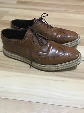 Prada Brown Leather Creeper Espadrilles Size 9.5 US 10.5-11 Platform Boots