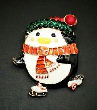4575~Adorable Goldtone Rhinestone Enamel Christmas SKATING PENQUIN Brooch Pin**