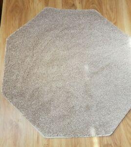 86cm Beige Fleck Octagon Rug Mat Super Soft Thick Cut Pile Carpet Felt Back #228
