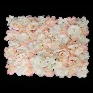 4pcs Silk Flower Wall Panel Wedding Venue Main Road Decor White Champagne